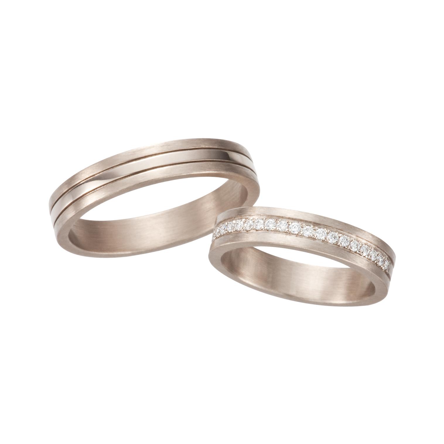 フェミニン,ゴージャス 結婚指輪のナチュラルホワイトコンビネーションズリング