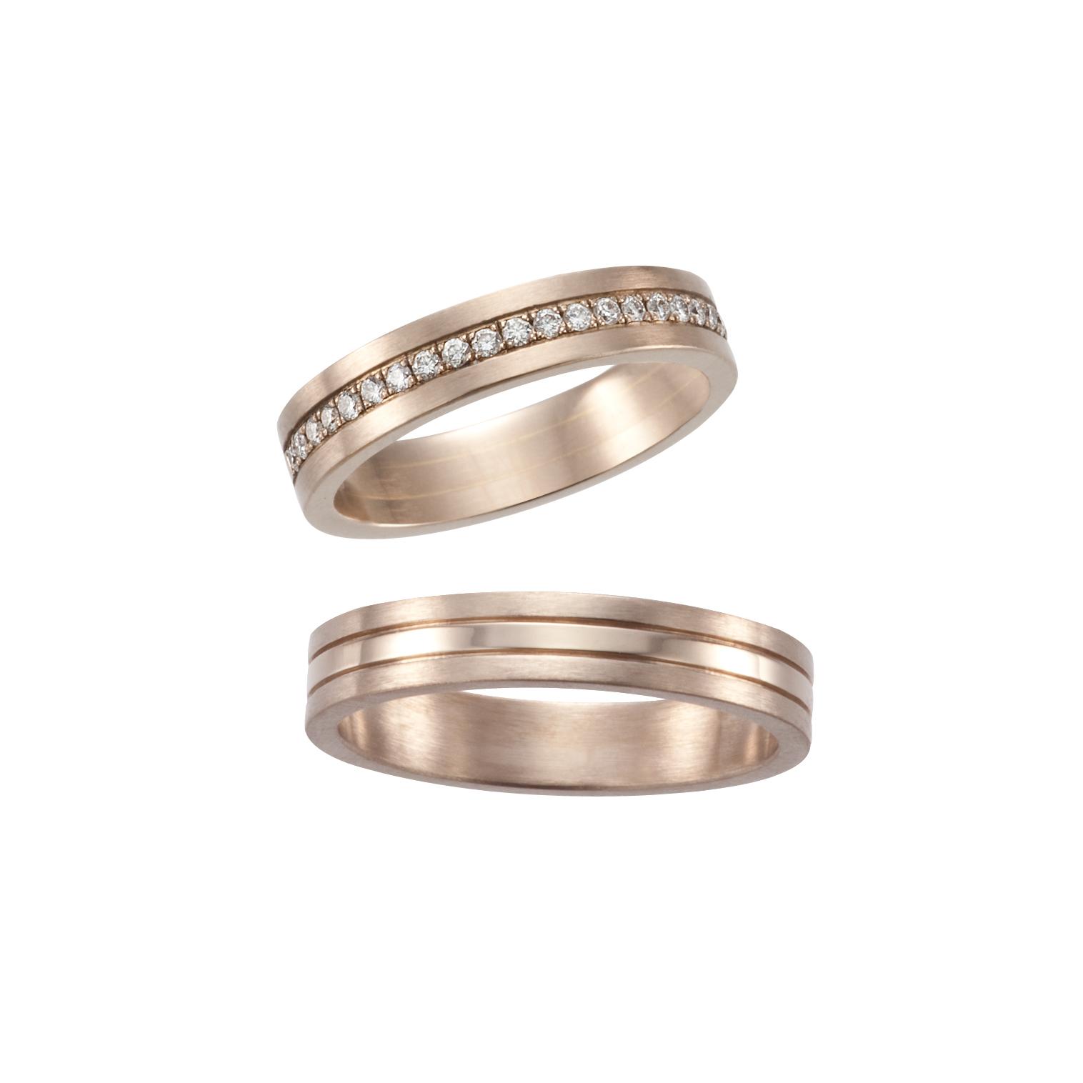 フェミニン,ゴージャス 結婚指輪のナチュラルピンクホワイトコンビネーションズリング