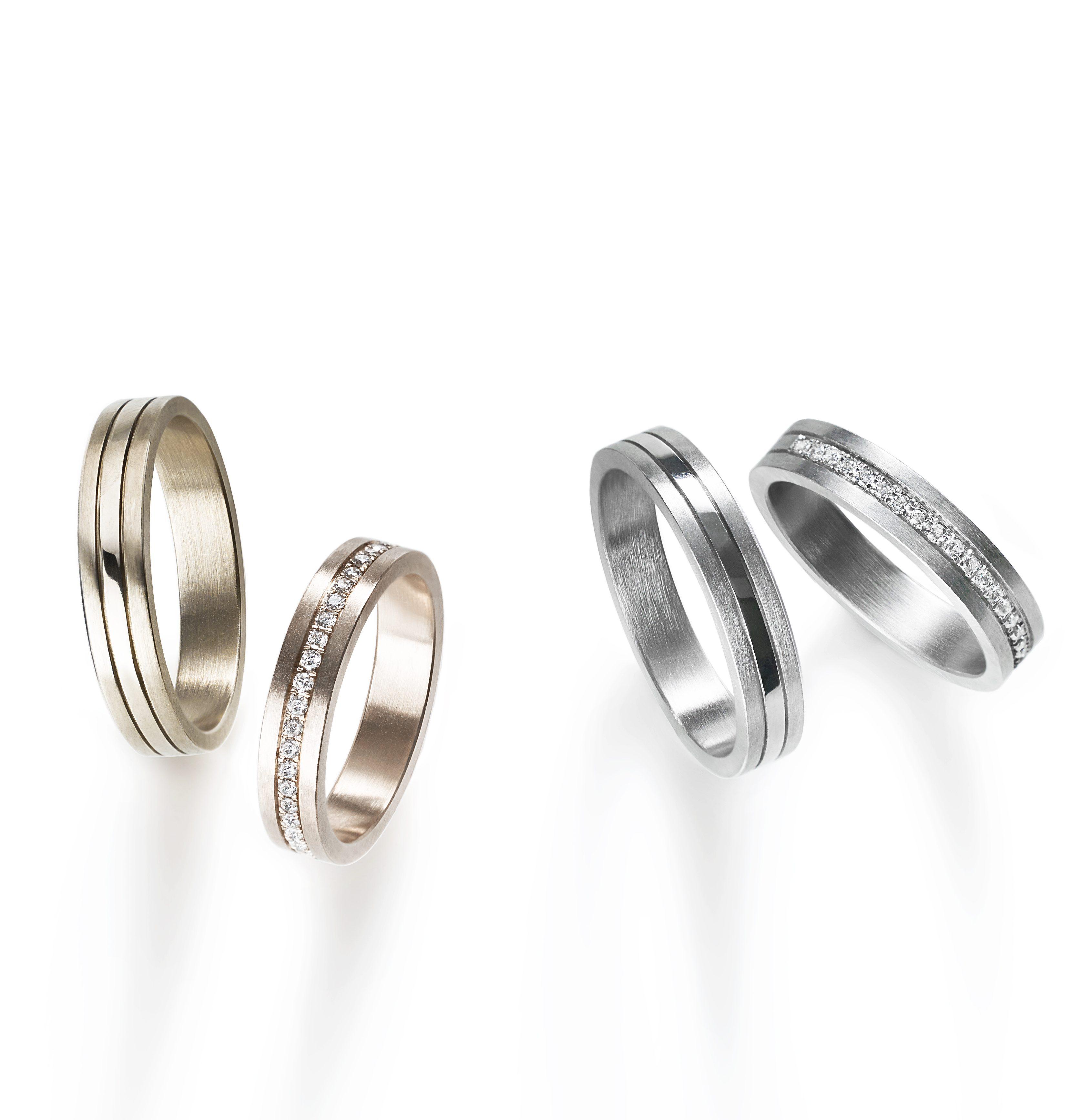 フェミニン,ゴージャス 結婚指輪のプラチナコンビネーションズリング
