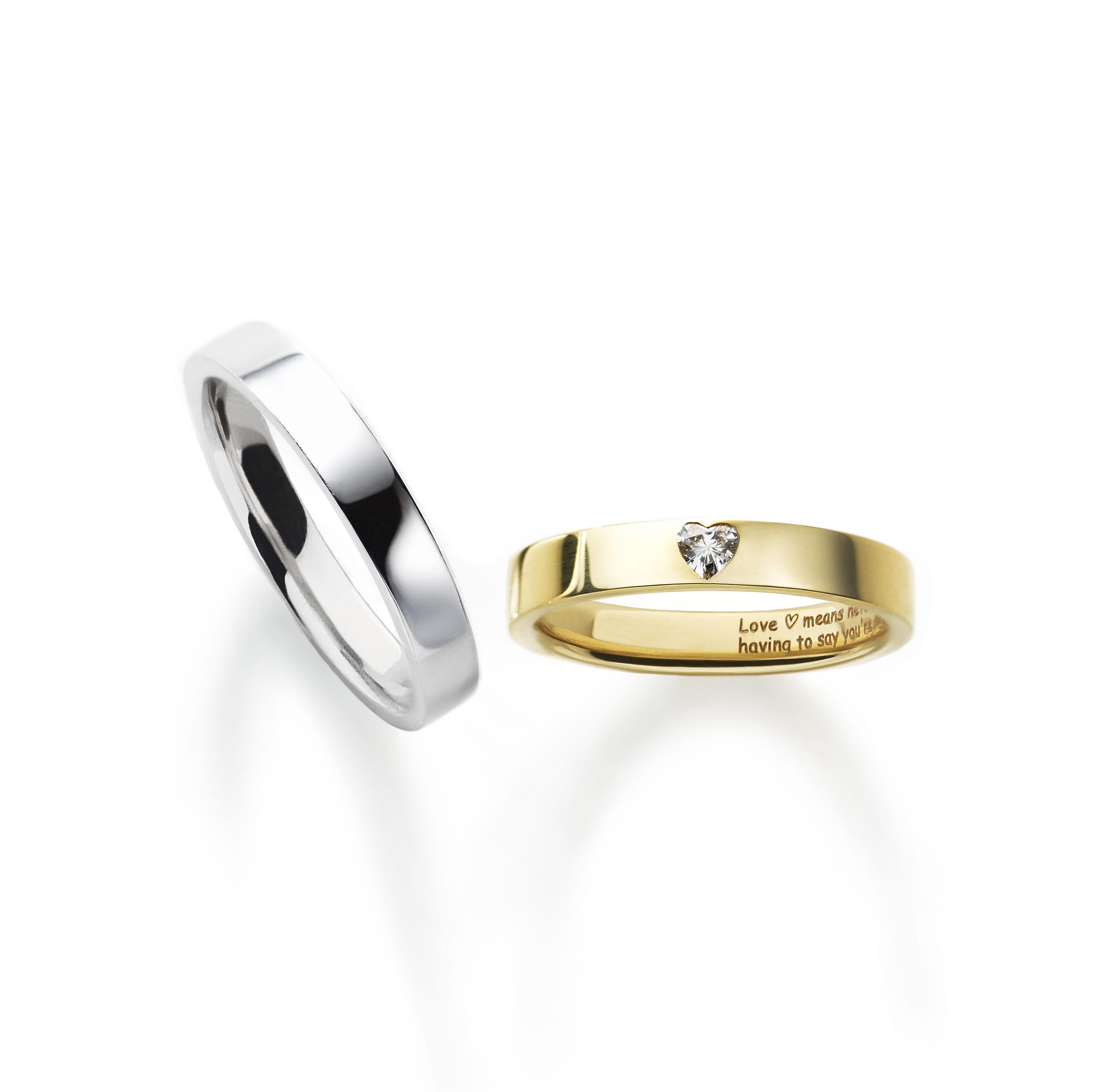 シンプル,フェミニン 結婚指輪のポージーリング