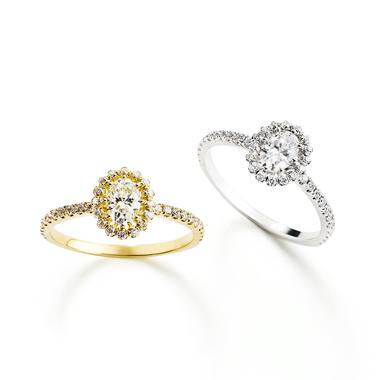 フェミニン,ゴージャス 婚約指輪のビリーブインオーバルリング
