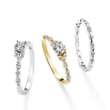 フェミニン,ゴージャス 婚約指輪のトランスペアレントリング