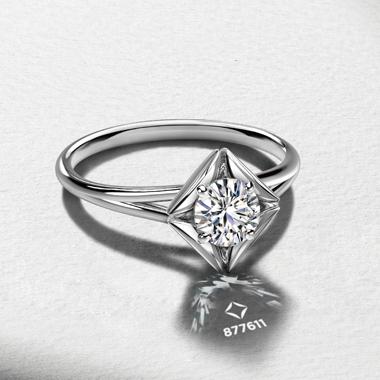 個性的 婚約指輪のソリティアプレーンリング