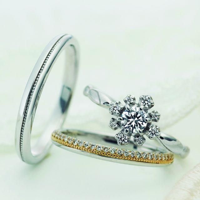 フェミニン,ゴージャス 結婚指輪のフェット