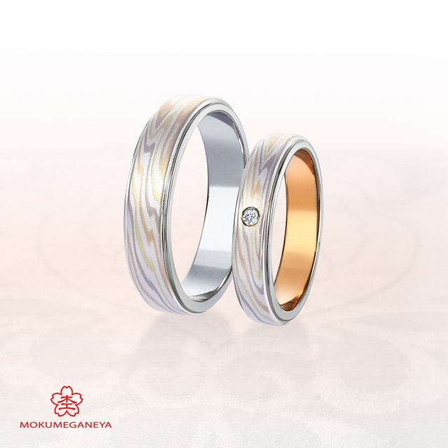 個性的 結婚指輪の雪銀花