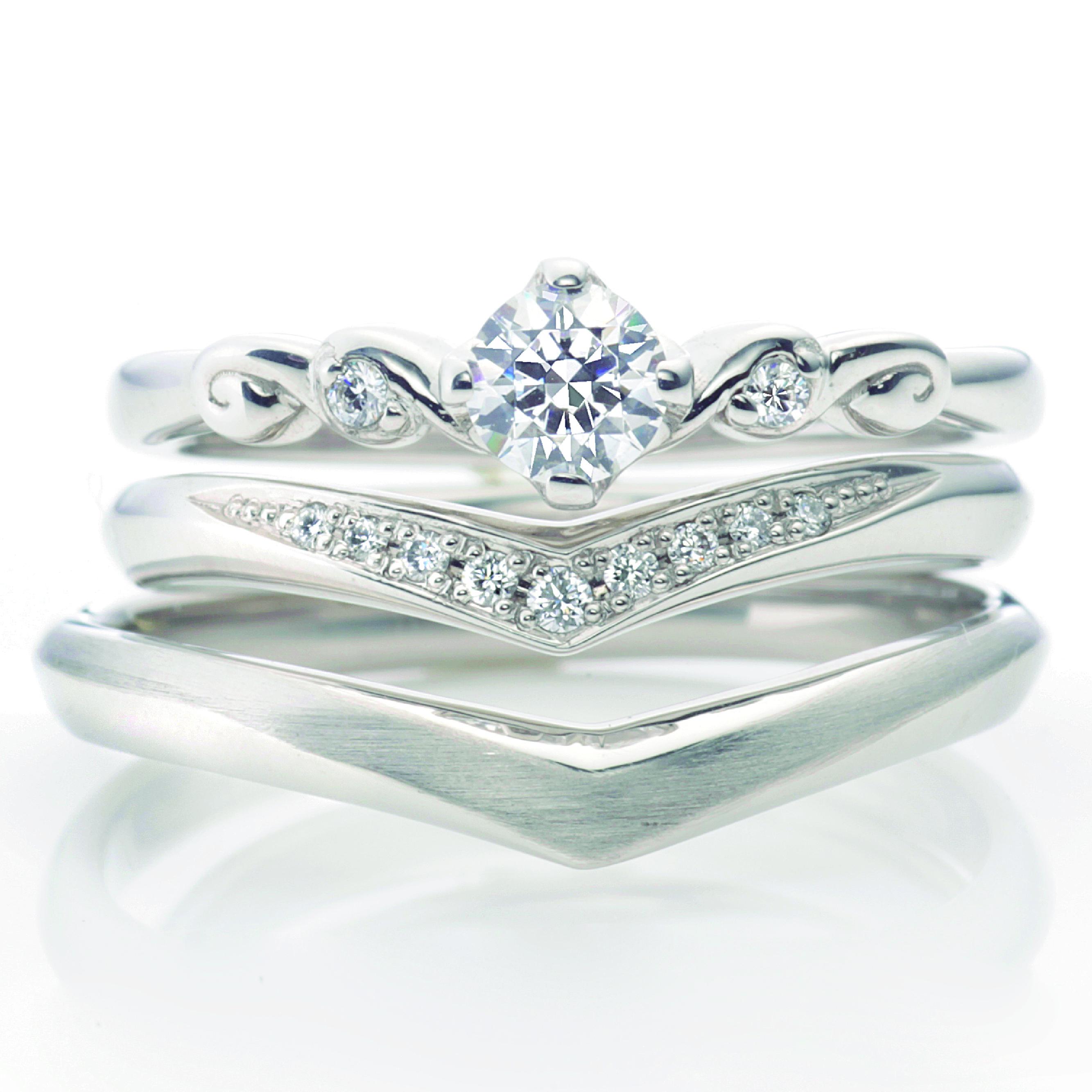 フェミニン,ゴージャス 結婚指輪のスピラル
