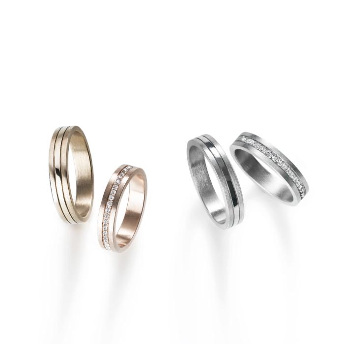 フェミニン,ゴージャス 結婚指輪のコンビネーションズリング