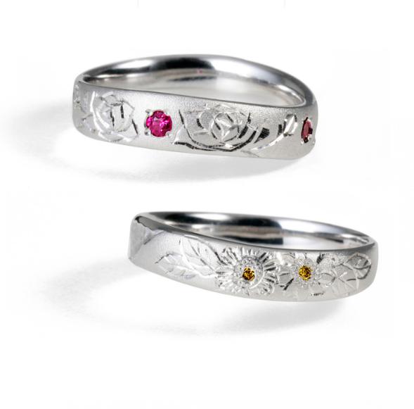 個性的 結婚指輪の匠花Ⅱ 薔薇・向日葵