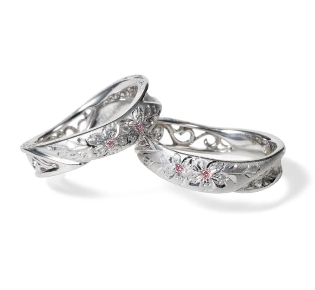 個性的 結婚指輪の匠花Ⅰ 桜
